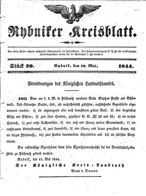 Rybniker Kreisblatt vom 18.05.1844