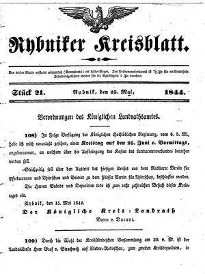 Rybniker Kreisblatt on May 25, 1844