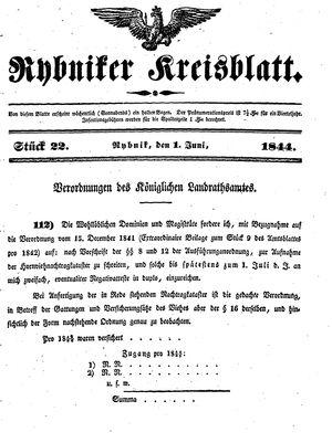 Rybniker Kreisblatt vom 01.06.1844