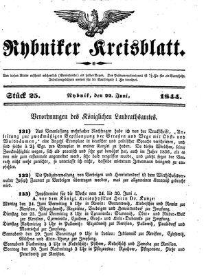 Rybniker Kreisblatt vom 22.06.1844