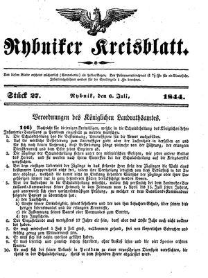 Rybniker Kreisblatt vom 06.07.1844