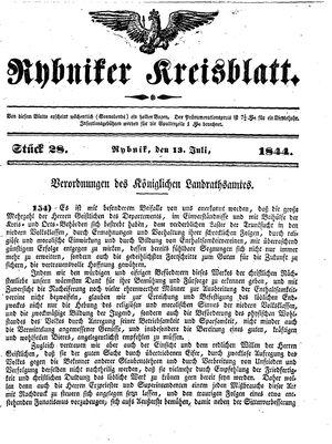 Rybniker Kreisblatt vom 13.07.1844