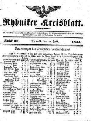 Rybniker Kreisblatt vom 27.07.1844