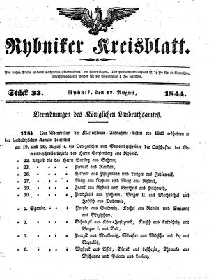 Rybniker Kreisblatt vom 17.08.1844