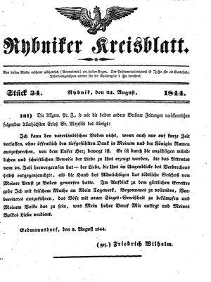 Rybniker Kreisblatt vom 24.08.1844