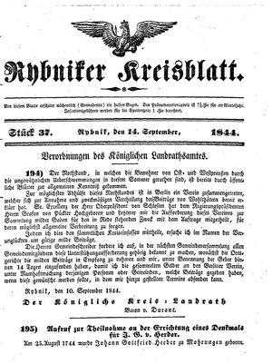 Rybniker Kreisblatt vom 14.09.1844