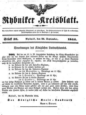 Rybniker Kreisblatt vom 21.09.1844