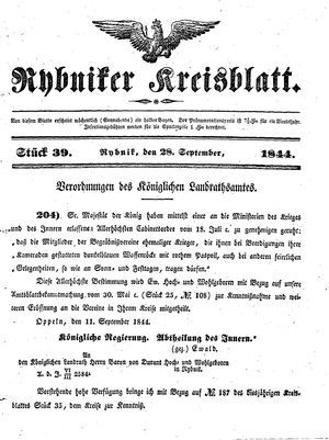Rybniker Kreisblatt vom 28.09.1844