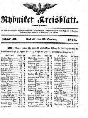 Rybniker Kreisblatt vom 26.10.1844