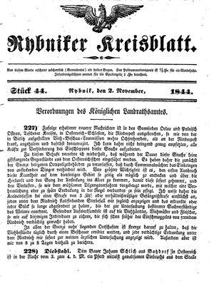 Rybniker Kreisblatt vom 02.11.1844