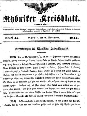 Rybniker Kreisblatt vom 09.11.1844