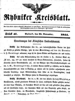Rybniker Kreisblatt vom 23.11.1844
