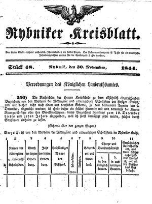 Rybniker Kreisblatt vom 30.11.1844