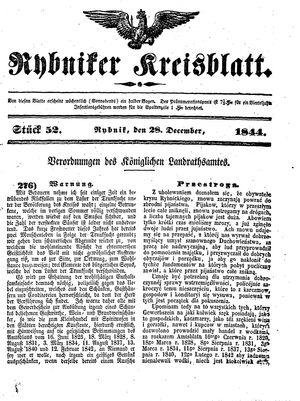 Rybniker Kreisblatt vom 28.12.1844