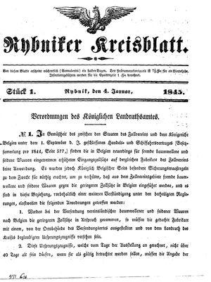 Rybniker Kreisblatt vom 04.01.1845