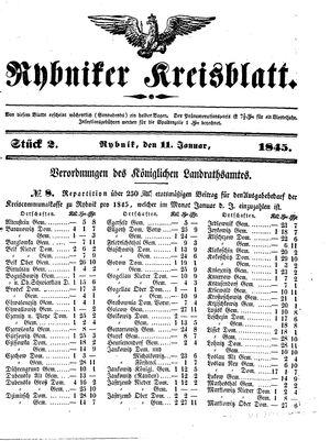 Rybniker Kreisblatt vom 11.01.1845