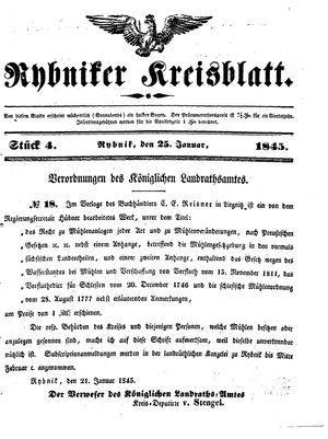 Rybniker Kreisblatt vom 25.01.1845