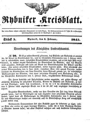 Rybniker Kreisblatt vom 01.02.1845