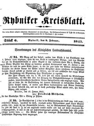 Rybniker Kreisblatt vom 08.02.1845