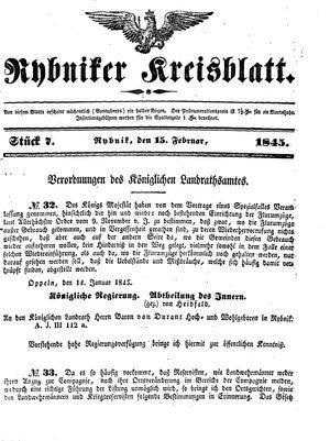 Rybniker Kreisblatt on Feb 15, 1845