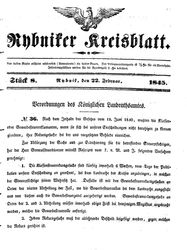 Rybniker Kreisblatt (22.02.1845)