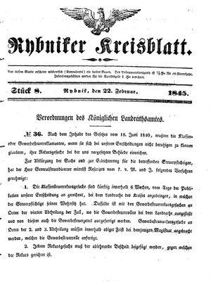 Rybniker Kreisblatt vom 22.02.1845