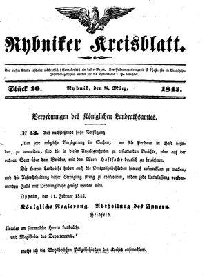 Rybniker Kreisblatt vom 08.03.1845