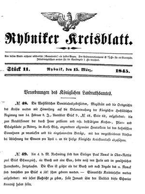 Rybniker Kreisblatt vom 15.03.1845