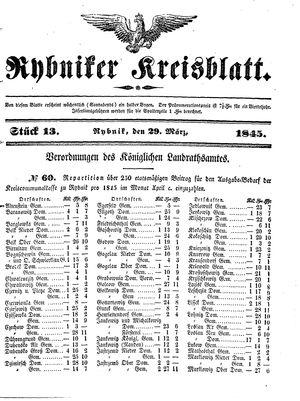 Rybniker Kreisblatt vom 29.03.1845