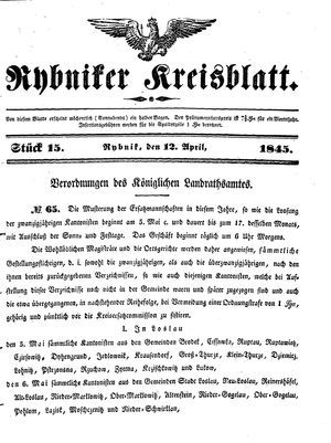 Rybniker Kreisblatt vom 12.04.1845