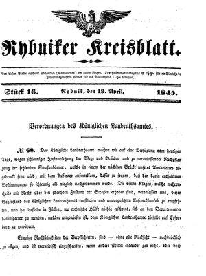 Rybniker Kreisblatt vom 19.04.1845