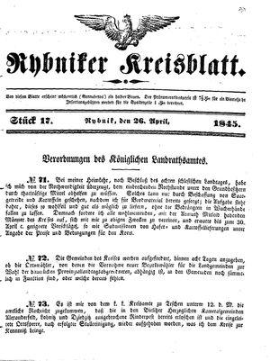 Rybniker Kreisblatt vom 26.04.1845
