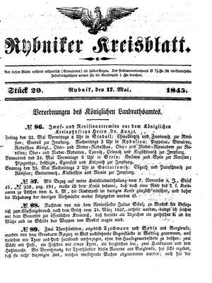 Rybniker Kreisblatt on May 17, 1845
