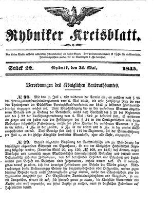 Rybniker Kreisblatt vom 31.05.1845