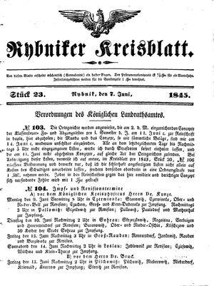 Rybniker Kreisblatt vom 07.06.1845