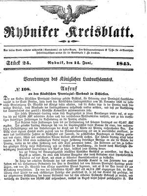 Rybniker Kreisblatt vom 14.06.1845