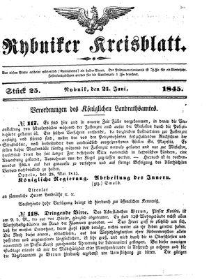 Rybniker Kreisblatt vom 21.06.1845