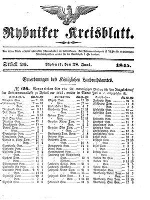 Rybniker Kreisblatt on Jun 28, 1845