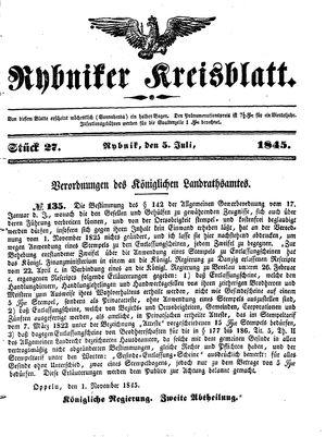 Rybniker Kreisblatt on Jul 5, 1845