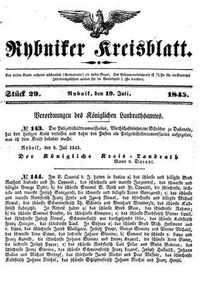 Rybniker Kreisblatt vom 19.07.1845