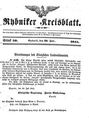 Rybniker Kreisblatt vom 26.07.1845