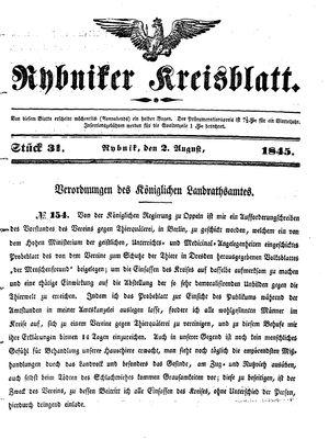 Rybniker Kreisblatt vom 02.08.1845