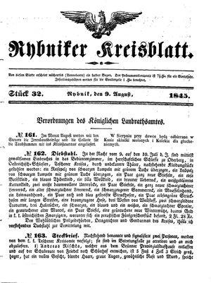 Rybniker Kreisblatt vom 09.08.1845