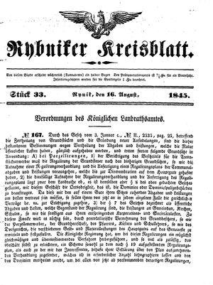 Rybniker Kreisblatt vom 16.08.1845