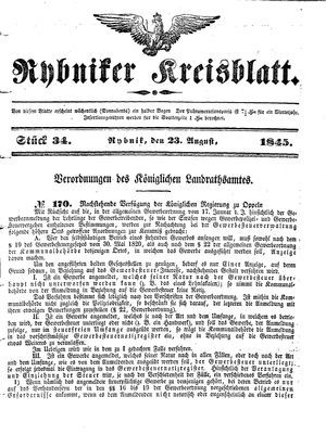 Rybniker Kreisblatt vom 23.08.1845