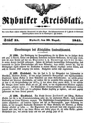 Rybniker Kreisblatt vom 30.08.1845