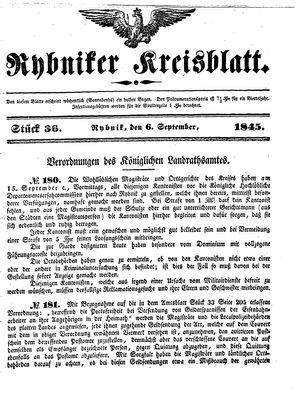 Rybniker Kreisblatt vom 06.09.1845