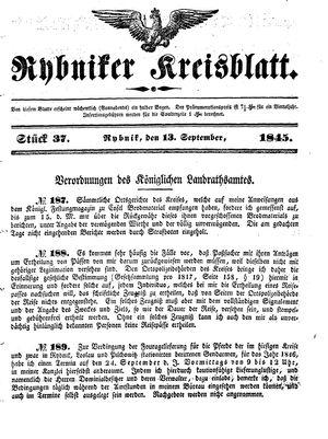 Rybniker Kreisblatt vom 13.09.1845