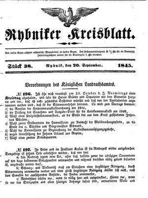 Rybniker Kreisblatt vom 20.09.1845