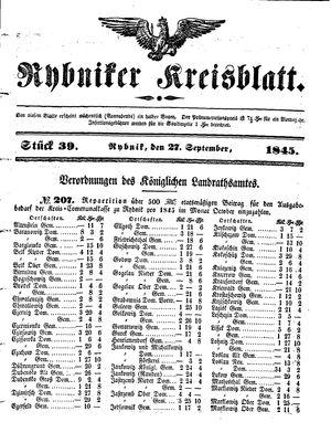Rybniker Kreisblatt vom 27.09.1845